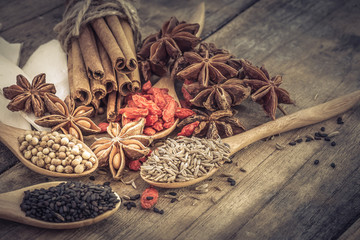 Foto op Canvas Jacht Colection of Chinese herbal ingredient on wooden background