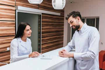 Receptionist in modern clinic