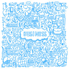 illustration of business element with doodle style
