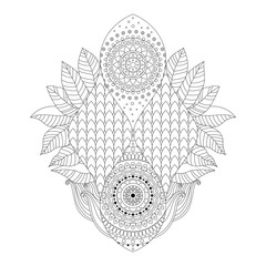 Black and white asian floral mehndi isolated ornament, oriental boho pattern in vector, can be used for coloring book, prints.