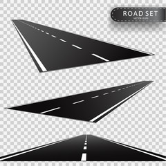 Road. Perspectives of a retreating roadway. Realistic vector object