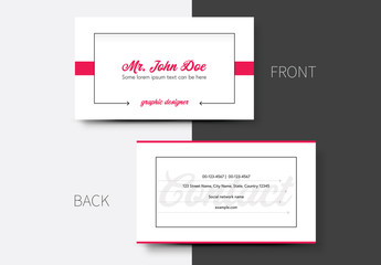 Business Card Layout with Pink Accents 1
