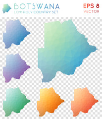 Botswana geometric polygonal maps, mosaic style country collection. Creative low poly style, modern design. Botswana polygonal maps for infographics or presentation.