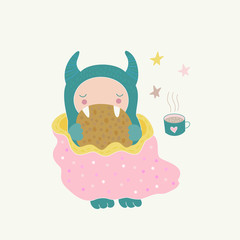 A cute monster under a blanket, eating a cookie, drinking a tea. Funny cartoon character, children s illustration. Vector art.