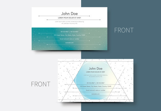 Business Card Layout with Gradient and Dot Design 1