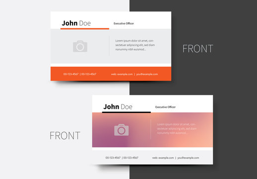 Business Card Layout with Orange Accents and Gradient 1