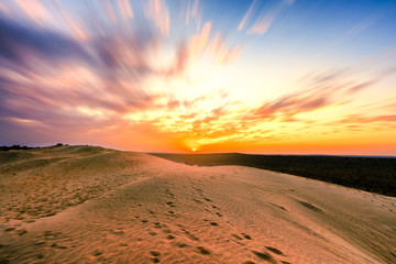 Papiers peints Route 66 Colorful Sunset over sand dunes at Jaisalmer