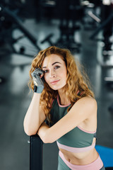 Close up portrait of fitness young woman