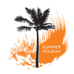 Tropical coconut palm tree and orange wave.  Abstract black silhouette isolated on white background. Vector illustration. Template for summer holiday, travel and vacation concept.