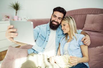 Couple enjoying at home