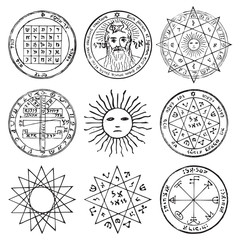 Vector set of occult, mystic, spiritual, esoteric vector symbols with stars, crosses, sun and the face of the Almighty. Spiritual masonic tattoo symbols, illustrations of spiritual religion signs