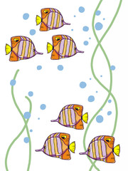 cartoon tropical fish illustration pattern background