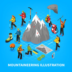 Mountaineering Isometric Illustration