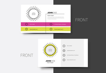 Crosshatch Business Card Layout with Yellow and Pink Accents 1