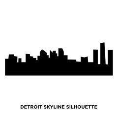 detroit skyline silhouette on white background