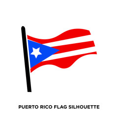 puerto rico flag silhouette on white background
