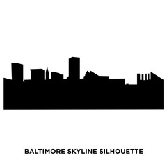 baltimore skyline silhouette on white background
