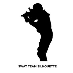 swat team silhouette on white background