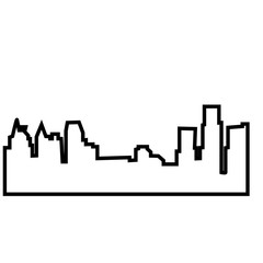 detroit skyline silhouette outline on white background