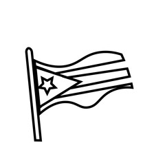 puerto rico flag silhouette outline on white background