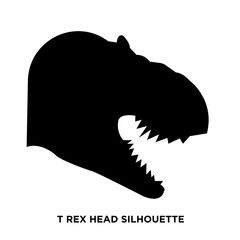 t rex head silhouette on white background