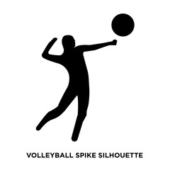 volleyball spike silhouette on white background