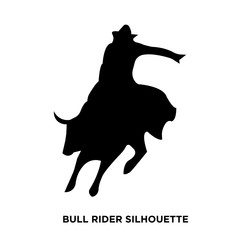 bull rider silhouette on white background