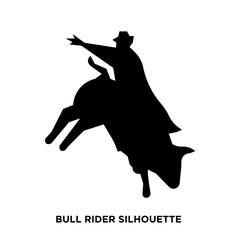 bull rider silhouette on white background