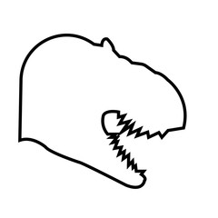 t rex head silhouette outline on white background