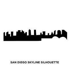 san diego skyline silhouette on white background