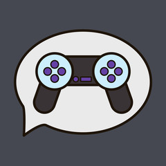Vector illustration icon of social media: e-mail, game joystick, message