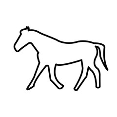 buck horse silhouette outline on white background