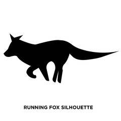 running fox silhouette on white background