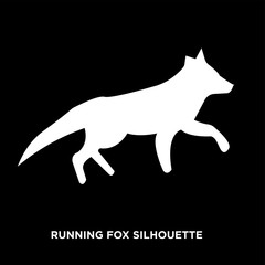 white running fox silhouette silhouette on black background