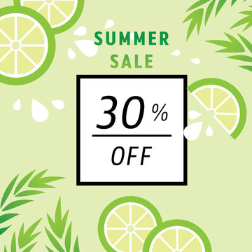 summer sale 30 percent off with lime juice