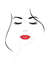 smiling beautiful woman face with closed eyes and red  lips, vertical vector illustration