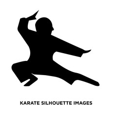 karate silhouette images on white background
