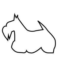 scottish terrier silhouette outline on white background