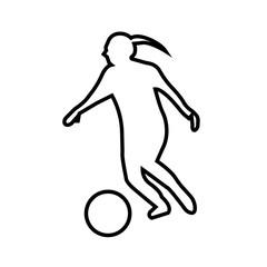 soccer player silhouette girl outline on white background