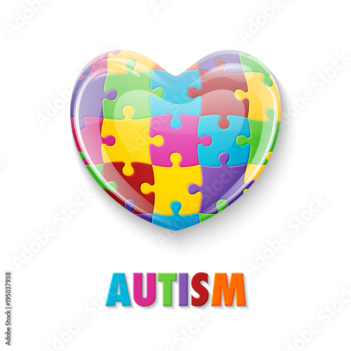 World Autism Awareness Day Colorful Glass Heart Made Of Puzzle