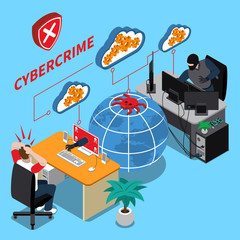 Cyber Crime Isometric Concept