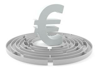 Euro currency symbol with maze