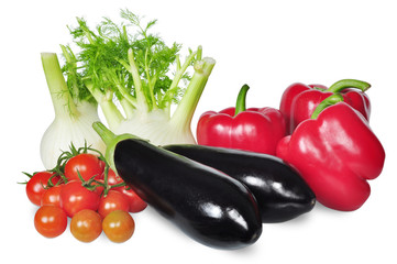 vegetable set with tomato, pepper, fennel and eggplant isolated on white