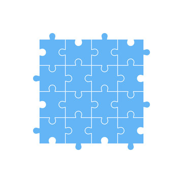 Set of 16 pieces of blue puzzle. The concept of infographic. Business idea. Vector illustration