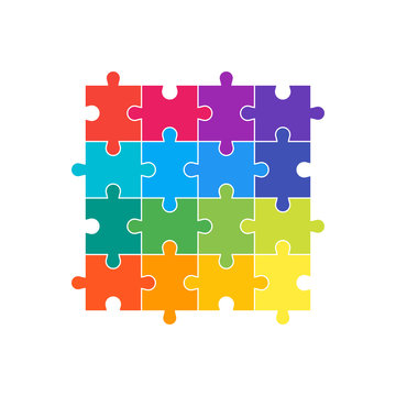 A set of 16 parts of a puzzle of different colors. The concept of infographic. Business idea. Vector illustration