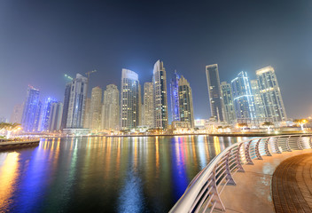 Dubai Marina buildings at night