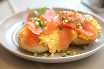 Scrambled eggs with smoked salmon on toast , Breakfast food