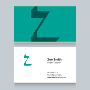 """Logo alphabet letter """"Z"""", with business card template. Vector graphic design elements for company logo."""