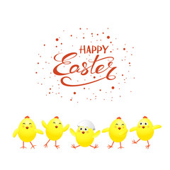 Five yellow chickens on white background and text Happy Easter