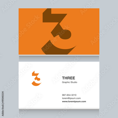 logo number 3 with business card template vector graphic design
